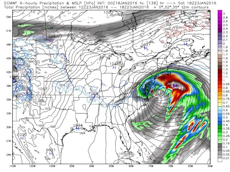 01/22/16-01/23/16 Update #1 - Historic Storm Possible - Page 6 Ecmwf_44