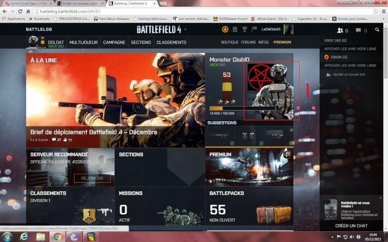 Comment ajouté et appliquer un embleme sur Battlelog. Battle11