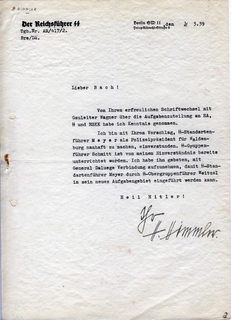 Comment peut bien valoir la signature de H Himmler ? Lettre10