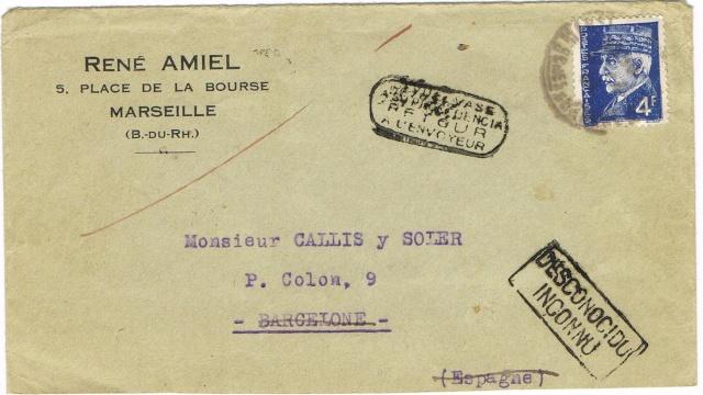 Lettre de Marseille pour l'Espagne contrôlée à Nancy Ccf07017