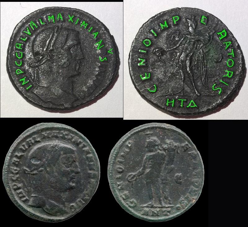 Folis Constantin 1er, antoninianus Tacite, folis Galère Maximien Quenti13