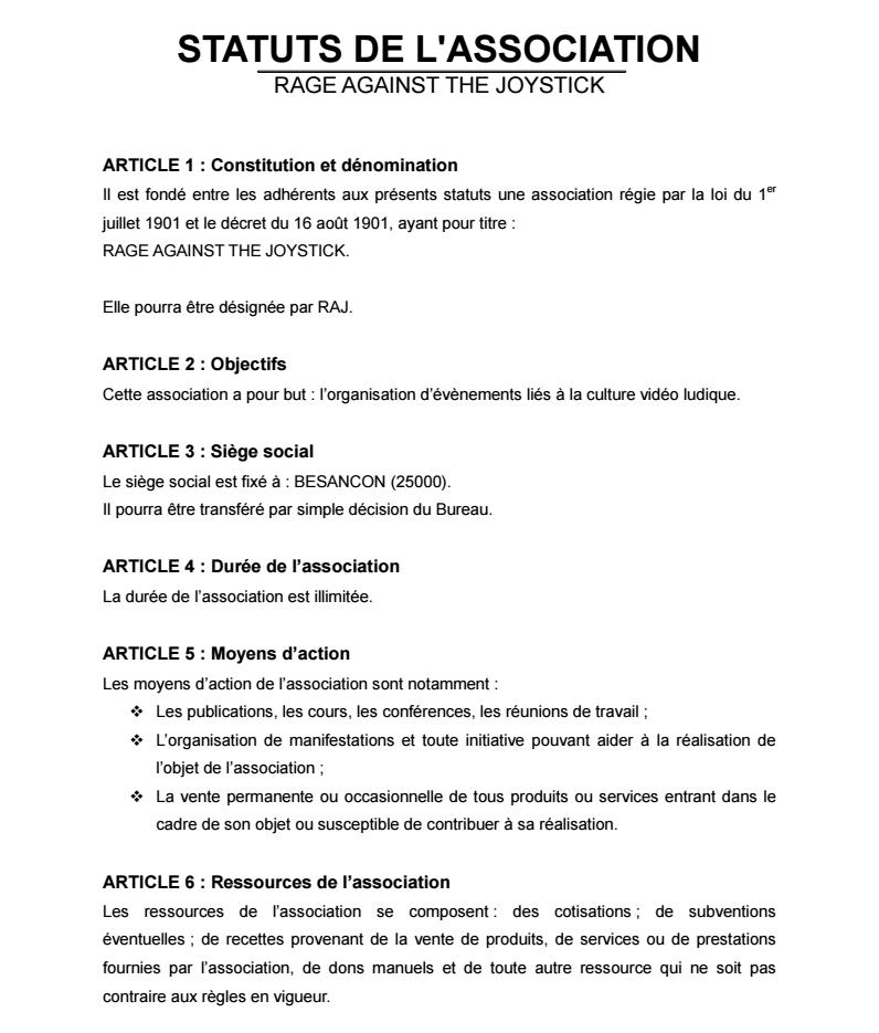 Statuts de l'Association 0111