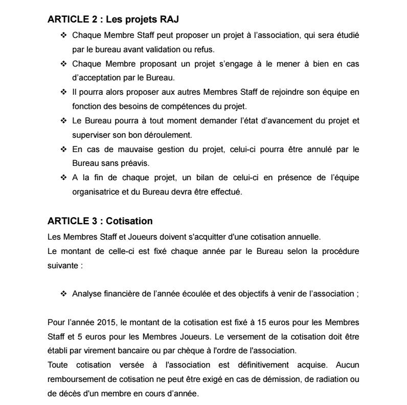 Règlement Intérieur de l'association 0310