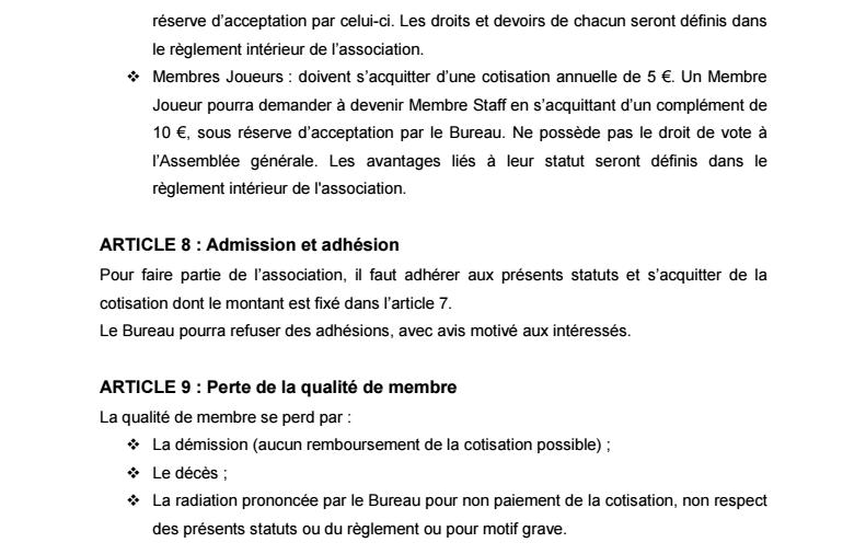 Statuts de l'Association 0311