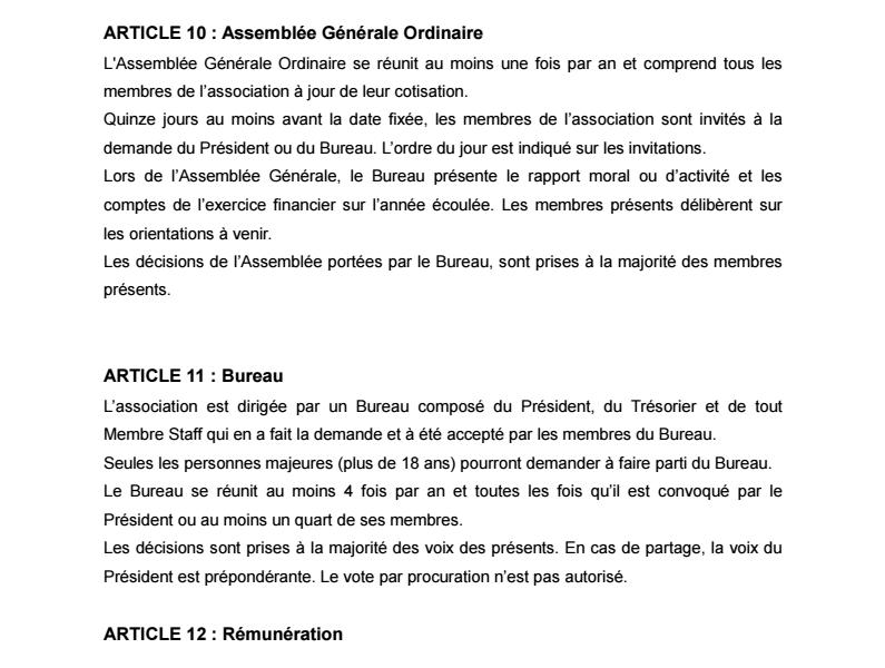 Statuts de l'Association 0411