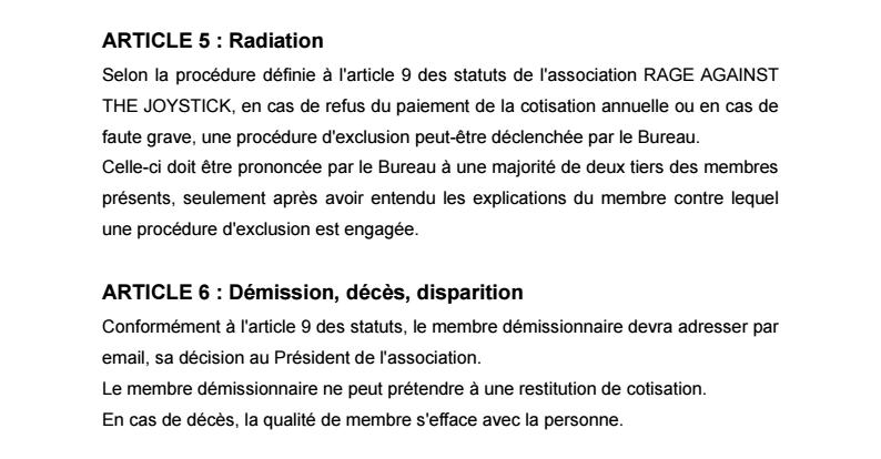 Règlement Intérieur de l'association 0510