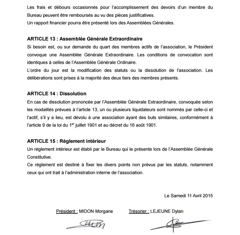 Statuts de l'Association 0511