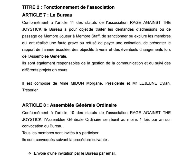 Règlement Intérieur de l'association 0610