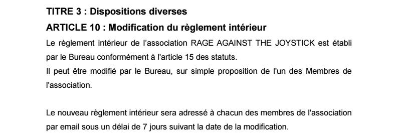 Règlement Intérieur de l'association 0810