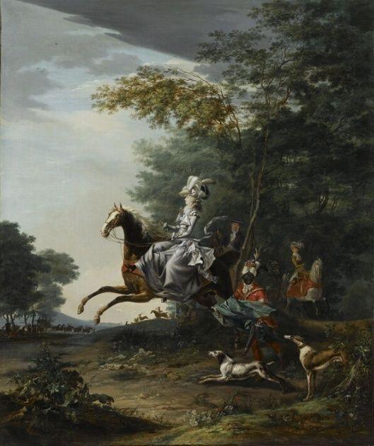 Louis-Auguste Brun, portraits de Marie-Antoinette en tenue de chasse Captu176