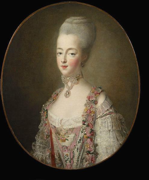 drouais - Grand portrait en pied de Marie-Antoinette, par Drouais Drouai15