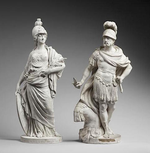 Groupe en biscuit de porcelaine de Niderviller, par Lemire : Marie-Antoinette représentée sous les traits de Minerve ? Marie_38