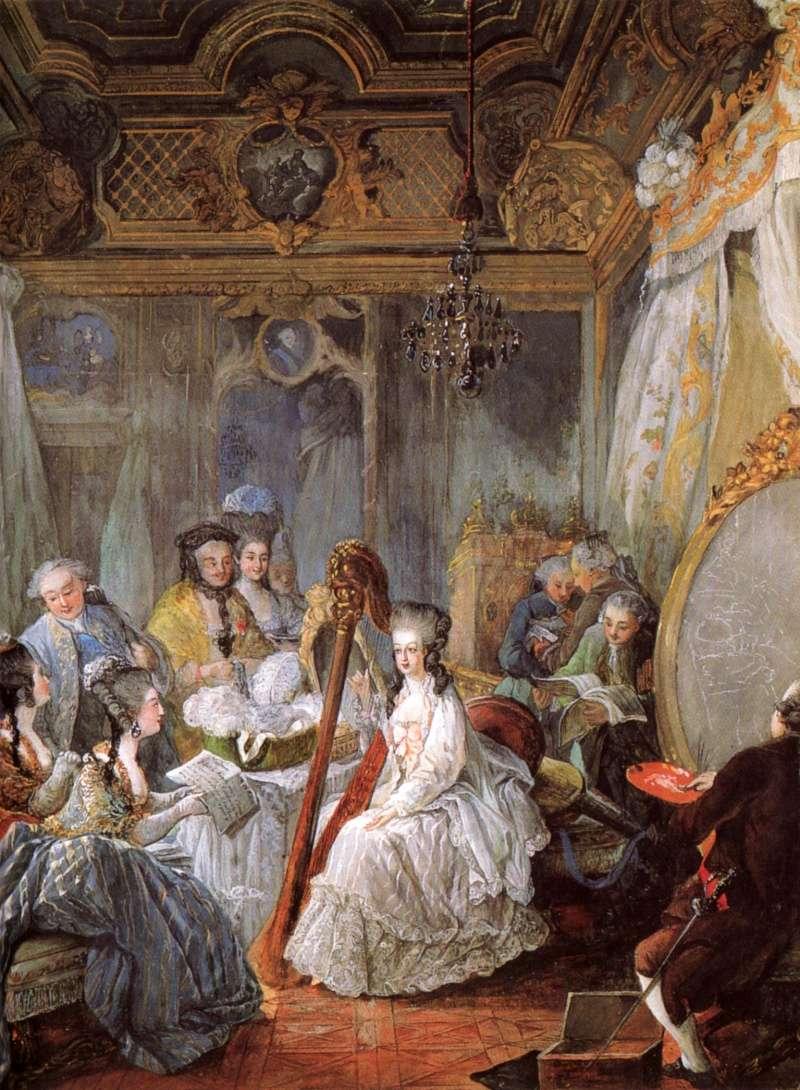 Gautier - Marie-Antoinette à la harpe, par Jean-Baptiste-André Gautier Dagoty Marie_91