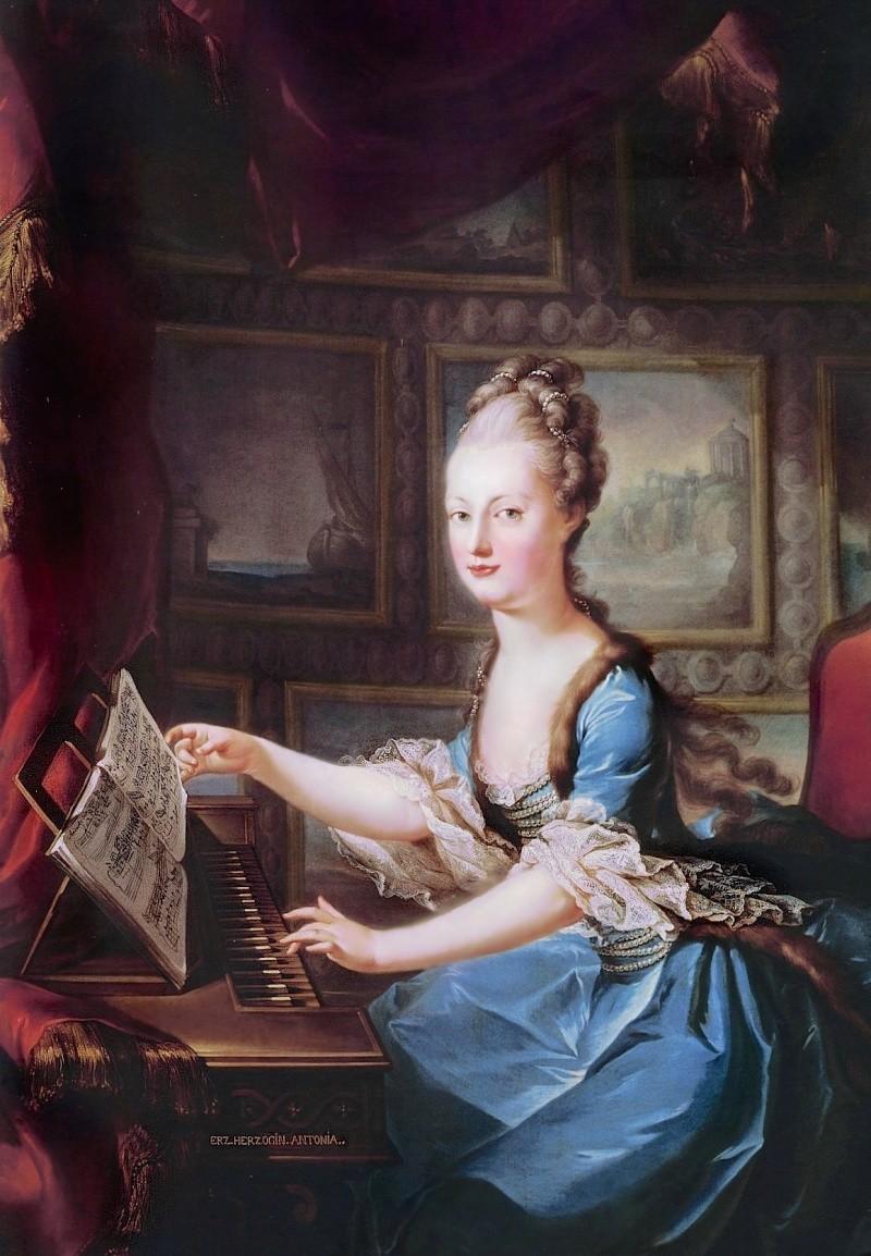 clavecin - Portraits de Marie-Antoinette au clavecin, par Franz Xaver Wagenschön Mariea10