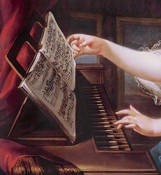 Portraits de Marie-Antoinette au clavecin, par Franz Xaver Wagenschön Mariea12