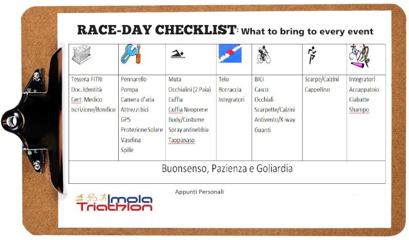 Check List borsa per la gara - Per non lasciare nulla a casa! Checkl10
