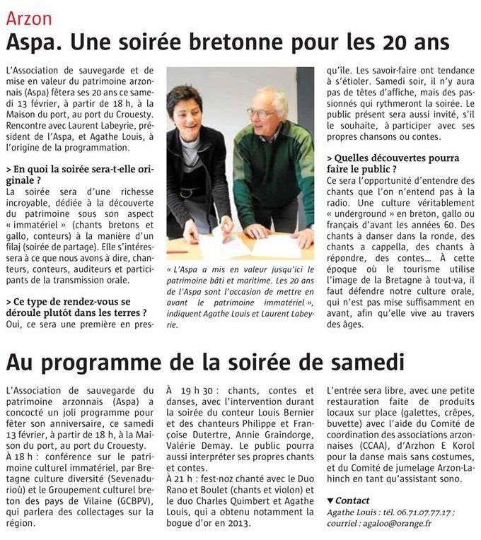 20 ans de l'ASPA, article du Télégramme 08/02/16  20ans_10