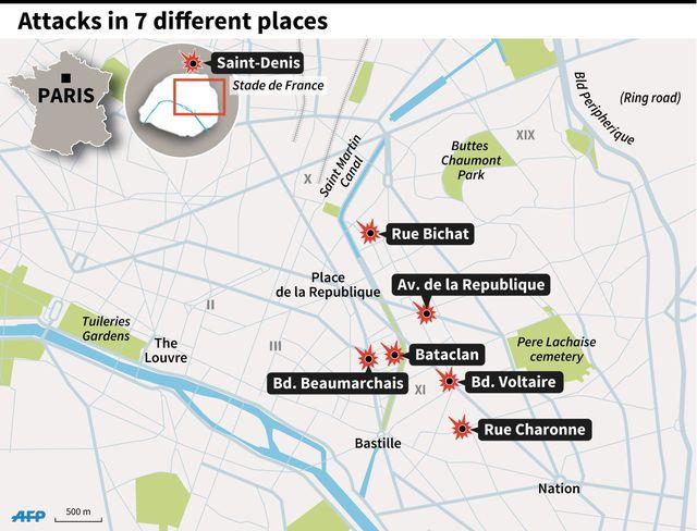 Vendredi sombre 13 novembre 2015, violentes attaques à Paris. Carte-10