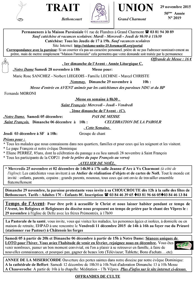 Trait d'Union du 29 novembre 2015 Tu151114