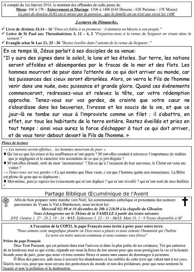 Trait d'Union du 29 novembre 2015 Tu151115