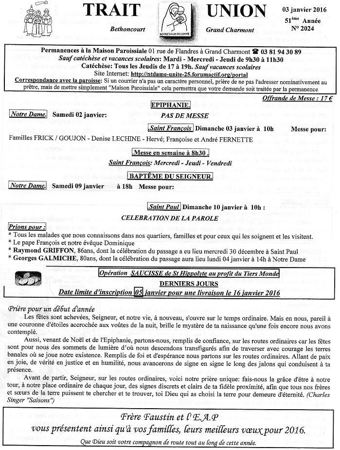 Trait d'Union du 3 janvier 2016 Tu160110