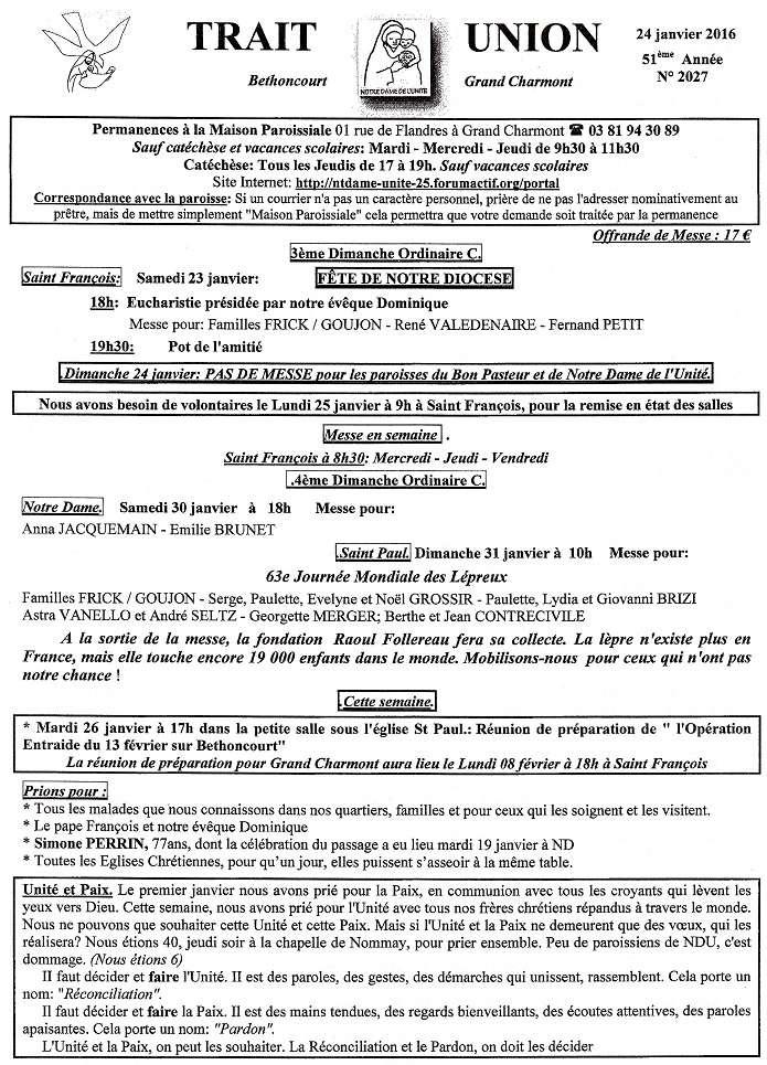 """Trait d'Union du 24 janvier 2016 + feuille commande fromage """"aide Tiers monde"""" Tu160116"""