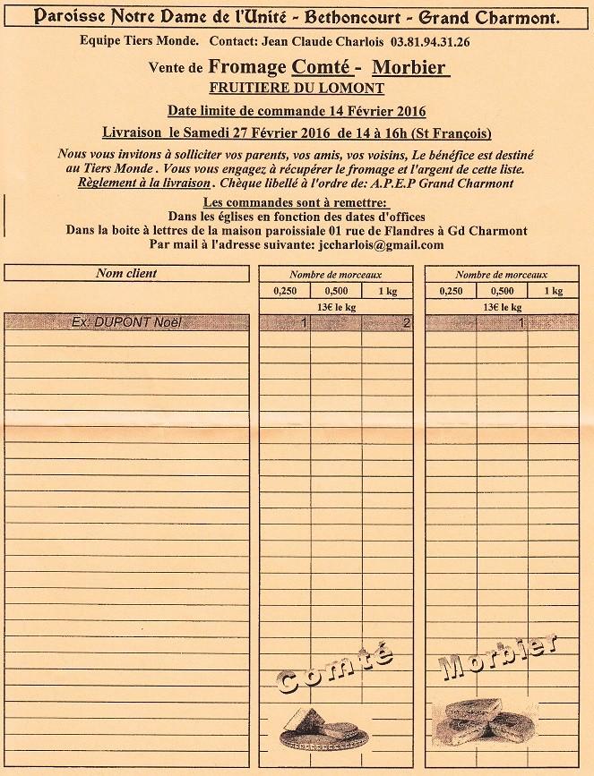 """Trait d'Union du 24 janvier 2016 + feuille commande fromage """"aide Tiers monde"""" Tu160118"""