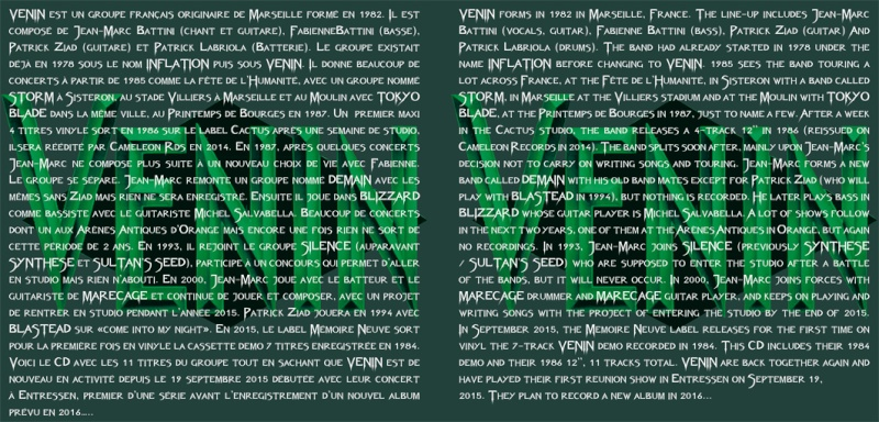 VENIN Démo 1985 chez No Remorse Records ... Veninc13