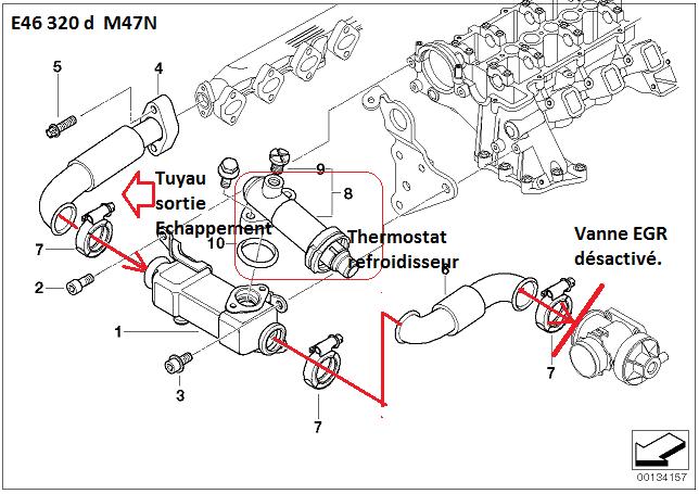 bmw e46 320d m47n an 2002   conduite du refroidisseur d