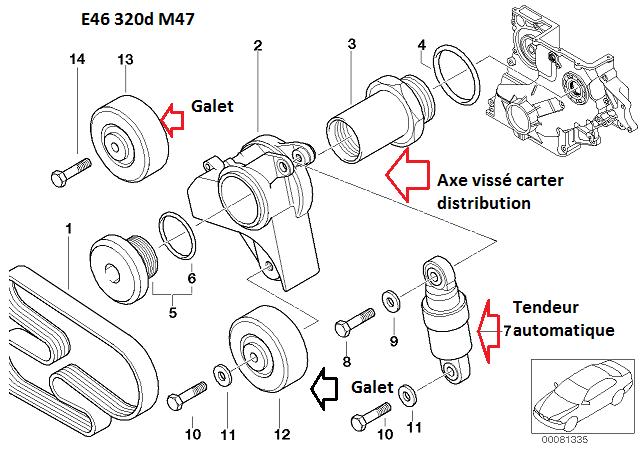 [ Bmw e46 320D m47 an 2000 ] Poulies de courroie d'accessoires cassées 11_m4712