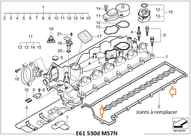 [ BMW E61 530DA M57N année. 01/2005 ] suintement huile haut moteur 11_m5710