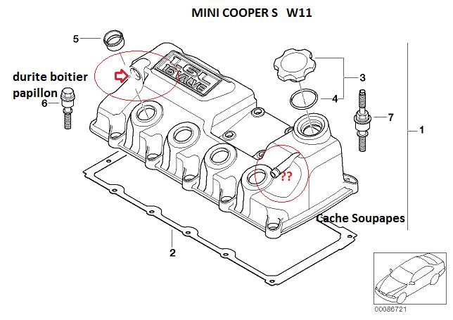 [ Mini R53 Cooper S an 2004 ] Localisation Durite aspiration boîtier papillon (résolu) 11_mot11