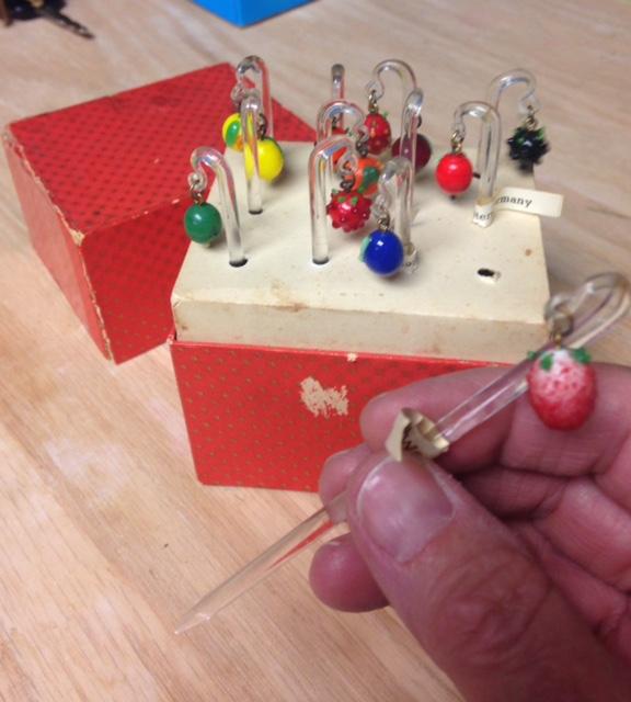 Fun set of West German glass fruit picks or swizzle sticks  Made_i11
