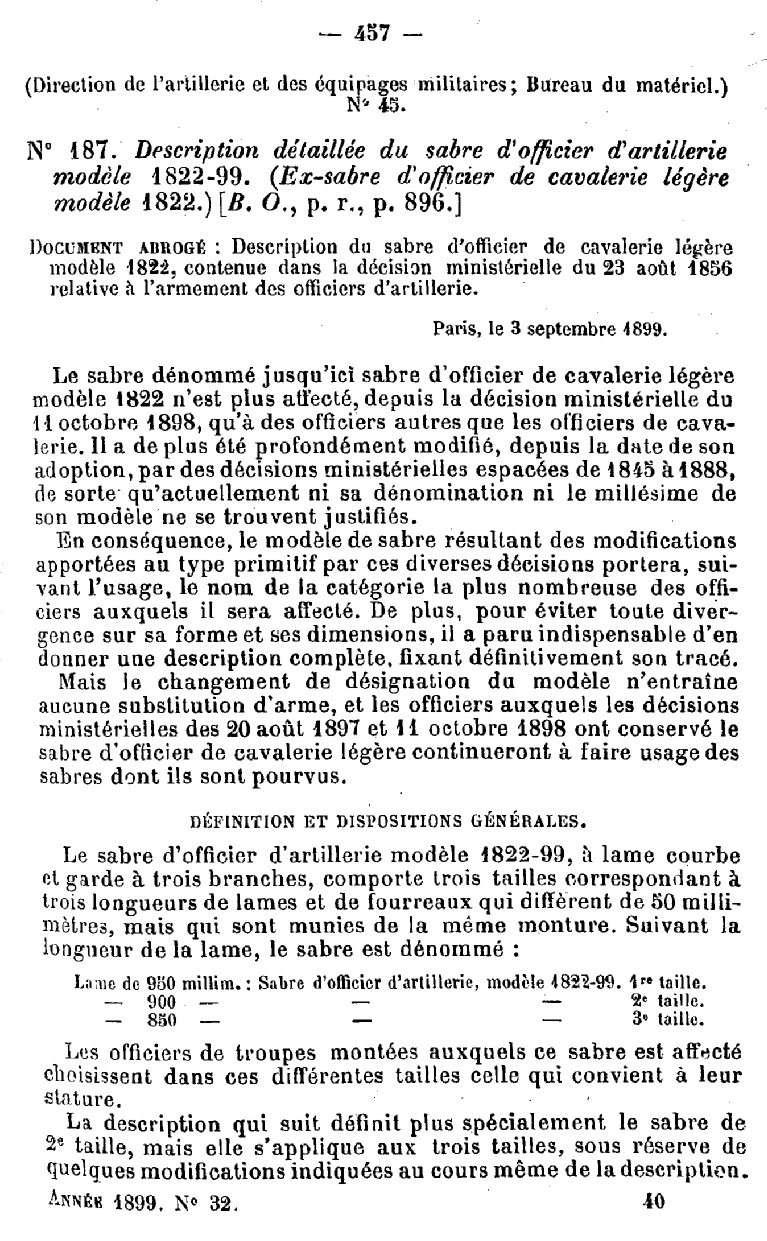 Sabre d'officier d'artillerie modèle 1822-99 1822-916