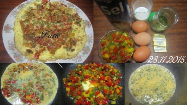 Omelette aux poivrons tricolores. 12278810