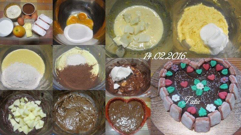 Gâteau St Valentin.chocolaté et pomme. 12743711