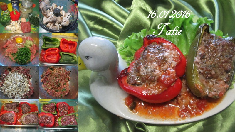 Poivrons farcis bœuf/champignons. Poivro10