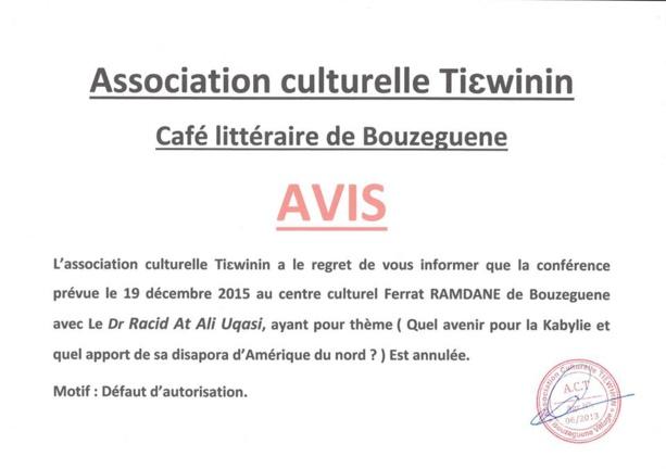 L'Algérie interdit une conférence sur l'avenir de la Kabylie à Bouzeguène I310