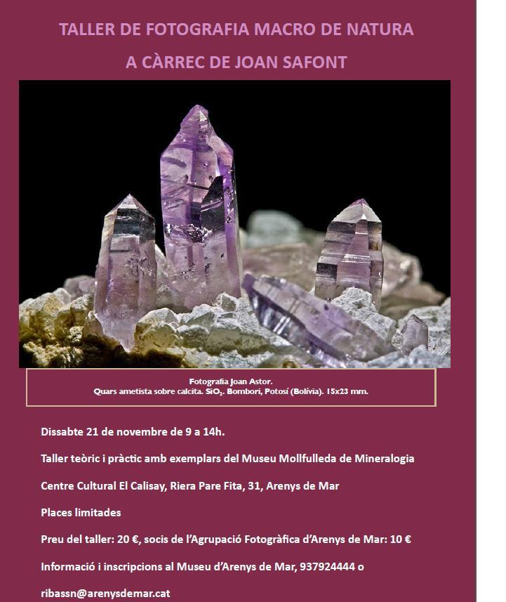 Taller de fotografia macro de minerals a Arenys de Mar Taller10