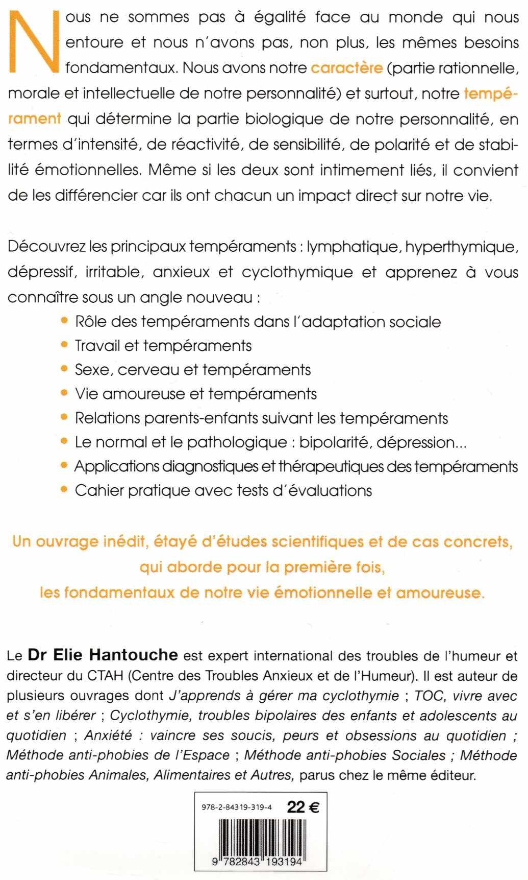 Les tempéraments affectifs - Elie Hantouche - couverture