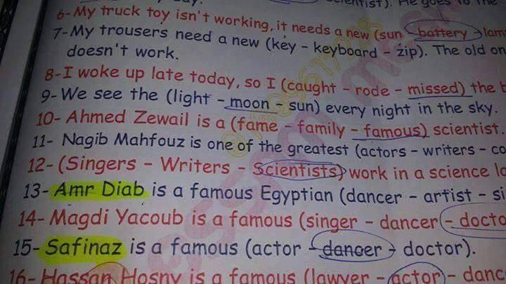 عمرو دياب وصافيناز ضمن تطوير المناهج الدراسية في مصر 12351010