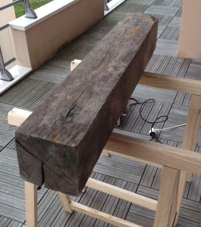 Bout de canapé en chêne Poutre11