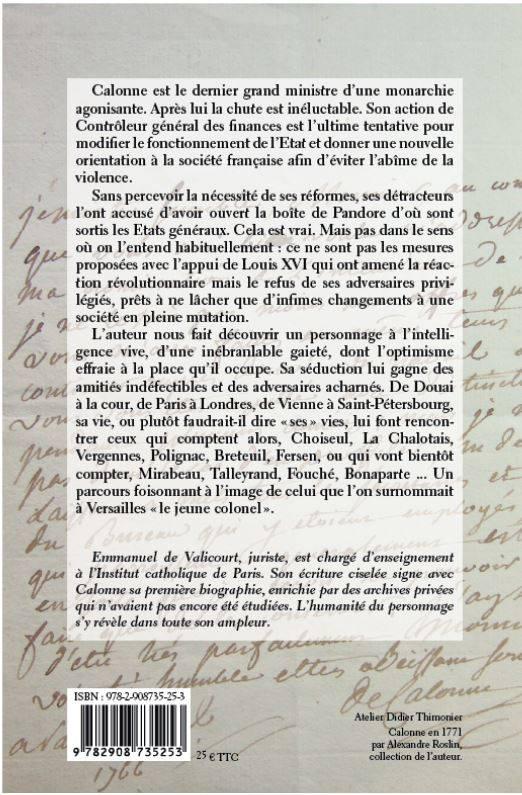 Calonne, la dernière chance de la monarchie, par Emmanuel de Valicourt 12219310