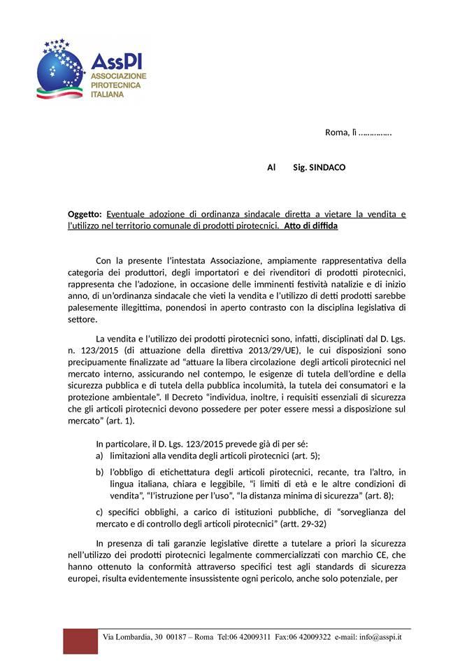 Diffida Ass.P.I. ai Sindaci delle ordinanze 14596911