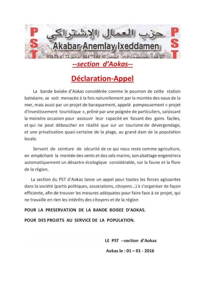 Parti Socialiste des Travailleures(Déclaration-Appel) Dyclar11