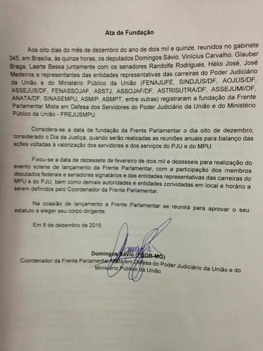 Frente Parlamentar Mista em Defesa dos Servidores do Poder Judiciário da União e do Ministério Público da União 20151210