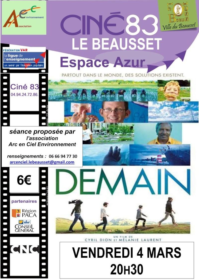 Le film DEMAIN, de Mélanie Laurent et Cyril Dion sera projeté à la salle Azur/Multivision (au dessus de la Poste Demain10