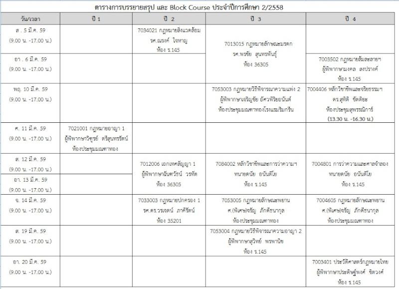 ตารางการบรรยายสรุป และ Block Course ประจำปีการศึกษา 2/2558  Bc2_2510