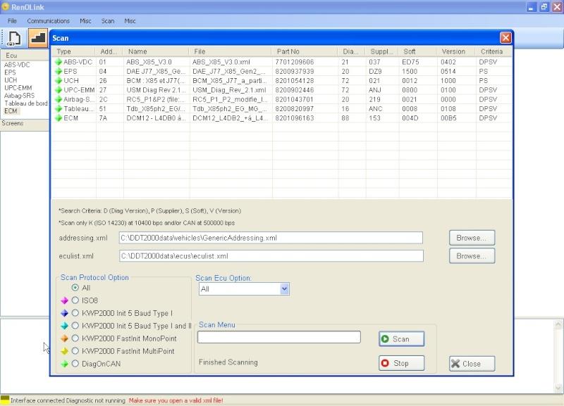 un nouveau logiciel qui remplace le DDT2000, qui s'appelle Renolink Captur12