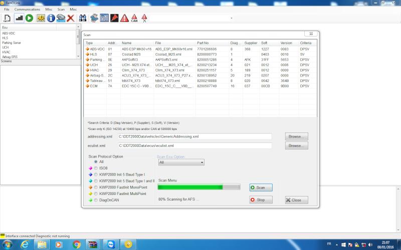 un nouveau logiciel qui remplace le DDT2000, qui s'appelle Renolink Reno_210
